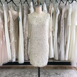 Sequined and Beaded Short Ivory Cocktail Dress